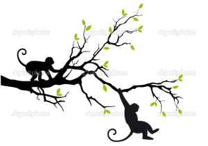 monkeys on tree, vector